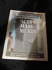 New York Newsday Newspaper September 12 2001 2nd Plane Crash Twin Tower 9/11