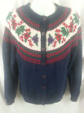 Northern Isles Flowers Floral Embroidered Cardigan Women's Sweater Sz Medium