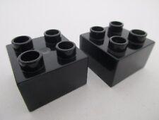 LEGO DUPLO 3437 - x2 Brique Brick 2x2 - Black Noir