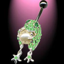Titan Bauchnabelpiercing Frosch mit Perle 925 Silber