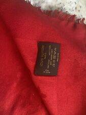 LOUIS VUITTON AUTHENTIC MONOGRAM CLASSIC RED M72237 SILK/WOOL SHAWL SCARF