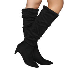 NEW Faux Suede Slouchy Knee High Boot Pointy Toe Med Low Kitten Heel Zipper