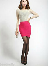 Women Fashion High Waist Pleated Stretch Short Pencil Bodycon Skirt Free Size