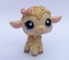 Figurine Petshop Mouton beige + Noeud rose Yeux Violet étoiles LPS rare TBE 1003