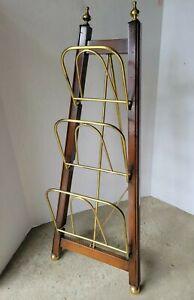 Fine Wood Collapsible Display Stand w/3 Brass Shelves/Legs/Ball Feet/Finials