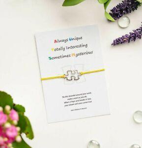 Autism Awareness Wish String Bracelet with Tibetan silver Jigsaw Charm