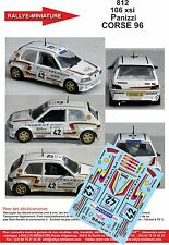 DECALS 1/18 REF 812 PEUGEOT 106 XSI PANIZZI TOUR DE CORSE 1993 RALLYE RALLY WRC