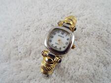 GENEVA Silvertone Goldtone Clamper Bracelet Watch (D11)