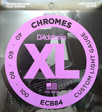 D'Addario ECB84 Chromes Flat Wound Bass Guitar Strings 40-100 custom light gauge