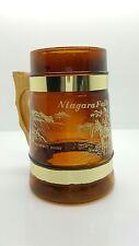 """***1960's VINTAGE*** Amber Mug Niagara Falls Brown Glass-Wood Handle-5 1/4"""" Tall"""