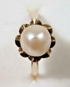 Vintage Solid 9ct Gold Single Pearl Ring 1966 London Hallmarks Size O Or 7-3/4
