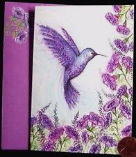 Papyrus Fancy  Purple Hummingbird Flowers GLITTERED Small Blank Note Card  NEW