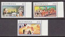 1977 Botswana Queen Elizabeth 11 Silver Jubilee set of 3 mint stamps.