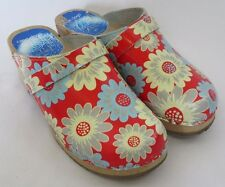 Cape Clogs Floral Fantasy Wood Sole Leather Upper Shoes Heels Womens Size 36 6