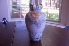 """Antique Nippon 9"""" Tall Beaded Floral Vase"""