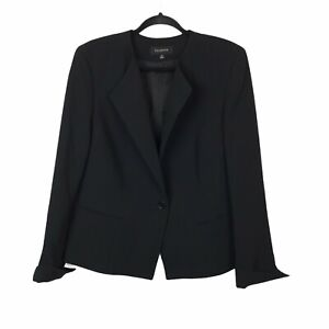 Talbots Womens Black Front Pockets Full Lined One Button Blazer Size 16