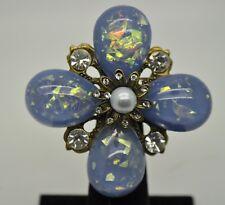 VINTAGE FLOWER SHAPE BLUE PEARLS BALL / CLEAR STONE FASHION BROOCH /PIN YD19