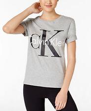 Calvin Klein Women's Logo Cotton Short Sleeve Crew Neck Top - Choose Sz/color Grey Heather Medium