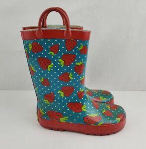 Western Chief Kids Size 11 Blue Polka Dot Strawberry Slip On Rubber Rain Boots