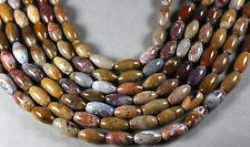 """COLORFUL FOSSIL WOOD AGATE 16X8MM OVAL RICE BEADS 15.5"""" PETRIFIED"""
