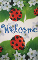"NEW Ladybugs & Cherry Blossom Welcome House Flag 28""X40"" Spring Decorative Flag"