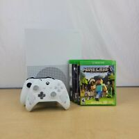 Microsoft Xbox One S 1TB White(v2019) With 2 Controls, Wires, and 5 Games, EUC