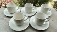 5 Gibson Four Seasons China White Fruit Embossed Pattern Flat Cup and Saucer Set