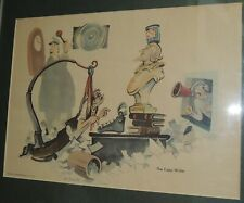 """Dr Seuss Print """"The Copy Writer"""" 9""""x12"""" c1940s Printed by Zeese-Wilkinson Co"""
