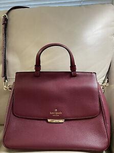 Pre Owned Kate Spade New York Rea Robinson Lane Black Cherry Leather Handbag EUC