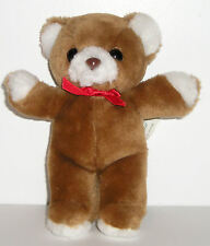 """Embrace Vintage 1987 Brown Teddy Bear Red Bow Stuffed Plush 7"""" RARE Toy"""