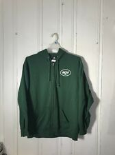 NEW YORK JETS MENS LARGE GREEN FULL ZIP JACKET WITH HOOD LONG SLEEVE