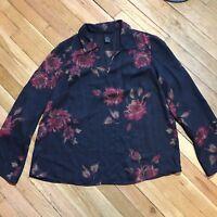 Lane Bryant Sheer Blouse 14/16 Black Floral Top 3/4 Sleeve V Neck Dressy Xmas
