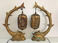 Great Old Vintage Pair Brass Dolphin Serpent Koi Fish Nautical Lamps Unusual