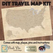 DIY Vintage USA Push Pin Travel Map Kit