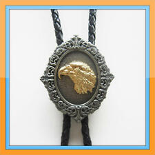 NEW EAGLE HORN ANIMAL HEAD GOLD RODEO COWBOY BOLOTIE WESTERN BOLO TIE
