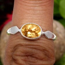 Genuine CITRINE Faceted 925 Sterling Silver Ring Size US 7.25 Top seller  C-5455