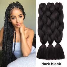 "US 1packs 24""Jumbo Braiding Hair Kanekalons Twist Braids Extensions dark black"