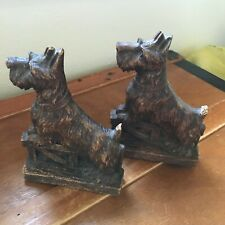 Vintage Pair of Carved Faux Wood Scottie Dog with Feet on Fence Bookends – 6.5
