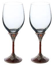 Pair of Medieval Guinivere Royal Metal Stem Fully Decorated Wine Glasses