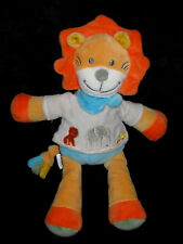 Doudou Lion orange jaune bleu gris Jungle Tex Baby Carrefour 29 cm éléphant