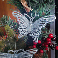 2 Glitter Butterfies Christmas Decorations Ice Blue Butterfly Xmas Hanging Decor