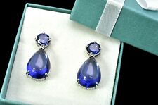 Tanzanite 14X10mm Cabochon  Earrings  .925 Sterling Silver (New Style)