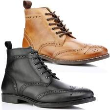 e3fa80e3020f Mens Leather Boots New Smart Formal Brogue Combat Lace Ankle Boots Shoes  Size
