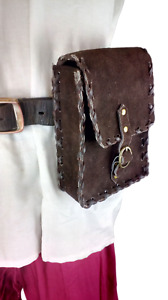 LARP Medieval Leather Pouch Bag Money Stitched Edging Hang Belt Black and Brown