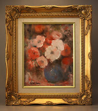 CALIFORNIA IMPRESSIONIST STILL LIFE BY E. JEAN WATSON – POPPIES IN A BLUE VASE