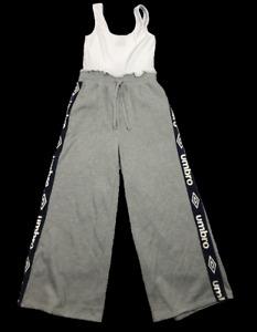 UMBRO by Factorie   Women's Wide Leg Jumpsuit   Grey White   Size: US 10, EUR 40