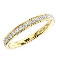 0.30Ct Bead & Bright-Cut set Round Diamonds Half Eternity Ring in 9K Yellow Gold