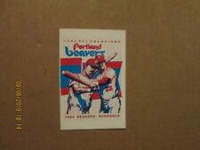 PCL Portland Beavers Vintage Circa 1984 Team Logo Pocket Schedule