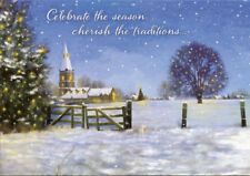 Designer Greetings Church and Fence in Falling Snow Box of 18 Christmas Cards