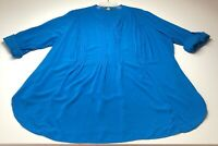 Stitch Fix Market & Spruce Women's Tunic Blouse 2X Blue Long Sleeves Pleated